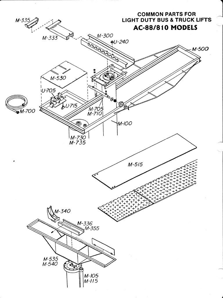 In Ground Lift Parts : In ground movable piston and rail diagram